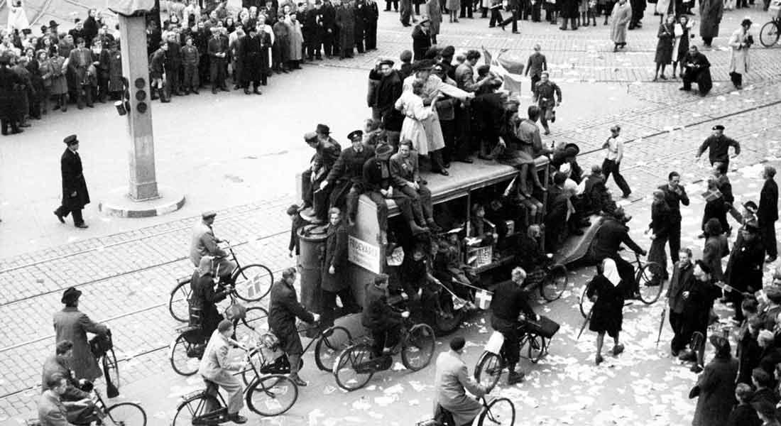 Jubel efter befrielsen i 1945