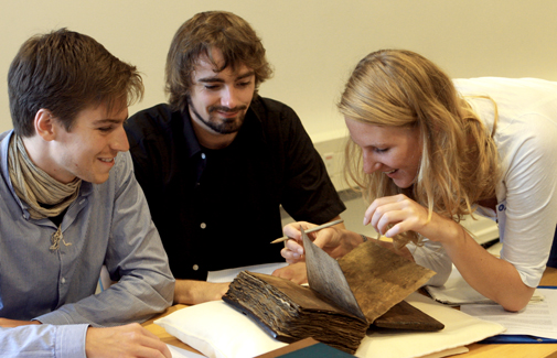 Students with manuscript